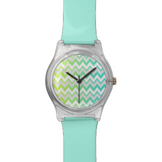 Chevron lime teal aqua ombre Hand watch