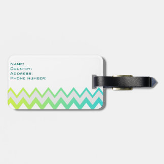 Chevron lime teal aqua ombre Luggage tag