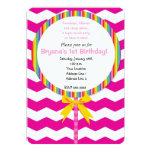Chevron Lollipop Candy Birthday Party Invitation
