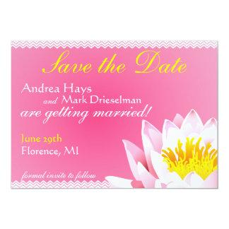 Chevron & Lotus Flower save the Date Invite