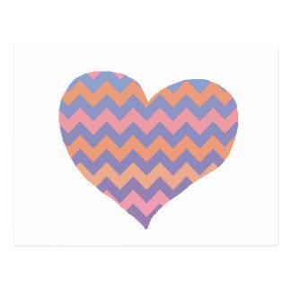 chevron love - heart postcard