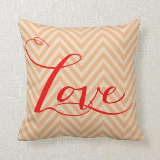 Chevron Love Typography | peach Throw Pillow