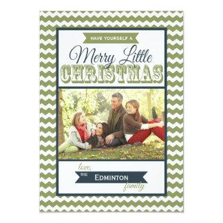 Chevron Merry Little Christmas Flat Card