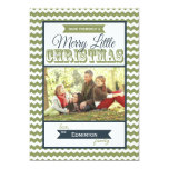 Chevron Merry Little Christmas Flat Card Invitation