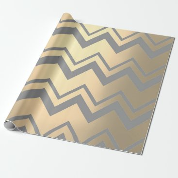 Beach Themed Chevron Metallic gray Silver Foxier Gold Zig Zag Wrapping Paper