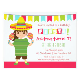 Chevron Mexican Fiesta Kids Birthday Party 4.25x5.5 Paper Invitation Card