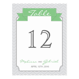 Chevron Mint and Grey Wedding Table Number Post Card