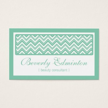 Professional Business Chevron Mint Beauty Consultant Business Card