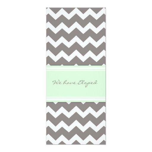 Chevron Mint Gray Elopement Announcement Cards