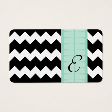 Professional Business Chevron Mint Green Consultant Business Card