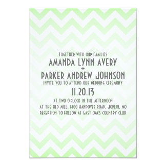 Chevron Mint Green Ombre Modern Wedding Invitation