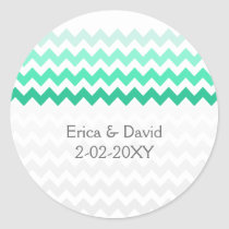 chevron mint green Ombre wedding favor stickers