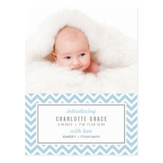 CHEVRON Modern Birth Announcement Postcard