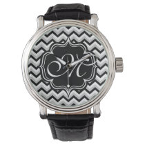 Chevron Modern Black and White ZigZag Monogram Wristwatch