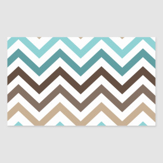Chevron Modern Pattern Blue Brown Rectangular Sticker