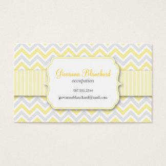 Chevron Modern Stylish Yellow Business Card