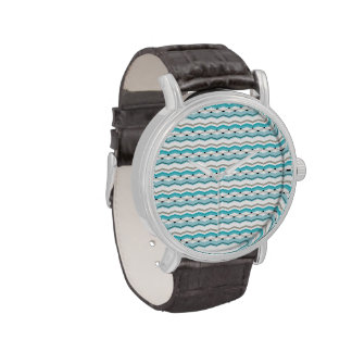Chevron modernista en azules turquesas relojes de pulsera