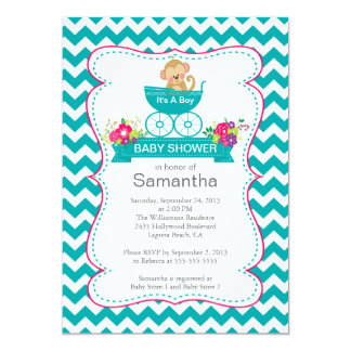 Chevron Monkey In Carriage Boys Baby Shower Card