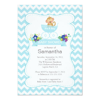 Chevron Monkey In Carriage Boys Baby Shower 5x7 Paper Invitation Card