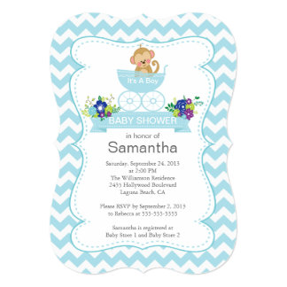 Chevron Monkey In Carriage Boys Baby Shower Personalized Invitations