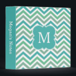 """Chevron Monogram Aqua Green Teal School Binder<br><div class=""""desc"""">A pretty and trendy personalized monogrammed Avery binder with modern green,  teal blue and olive chevron zigzag pattern. Customize the spine and add your monogram for a cute and unique custom school or office accessory.</div>"""