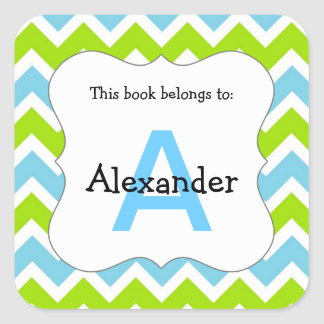 Chevron Monogram Bookplate Sticker blue green
