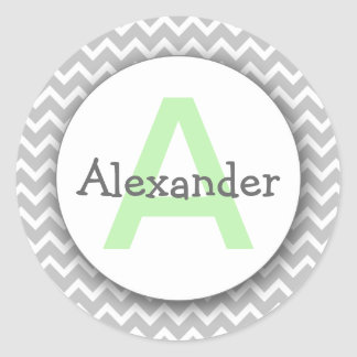 Chevron Monogram Bookplate Sticker gray mint