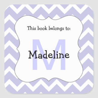 Chevron Monogram Bookplate Sticker lavender