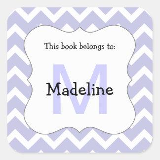 Chevron Monogram Bookplate Sticker lavender