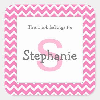 Chevron Monogram Bookplate Sticker pink and gray