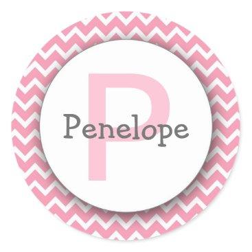 Beach Themed Chevron Monogram Bookplate Sticker pink white