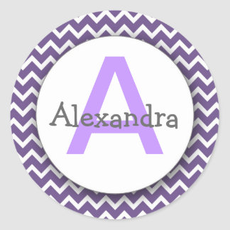 Chevron Monogram Bookplate Sticker purple