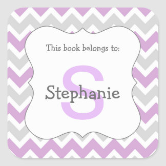 Chevron Monogram Bookplate Sticker purple gray