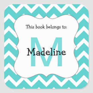 Chevron Monogram Bookplate Sticker teal
