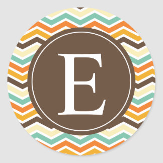Chevron Monogram Brown Orange Turquoise Classic Round Sticker