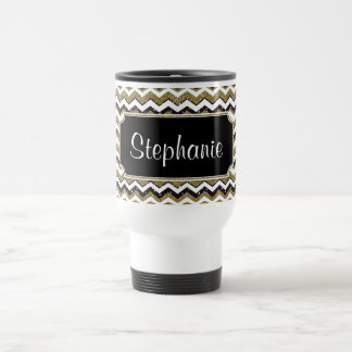 Chevron Monogram Gold/Black/White Travel Mug