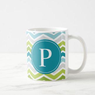 Chevron Monogram Green Blue Coffee Mug
