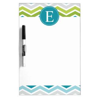 Chevron Monogram Green Blue Dry Erase Boards