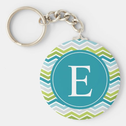 Chevron Monogram Green Blue Keychains