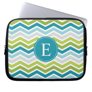 Chevron Monogram Green Blue Laptop Sleeve