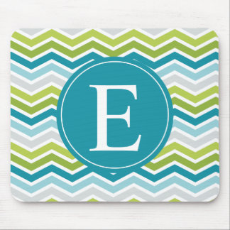 Chevron Monogram Green Blue Mouse Pad