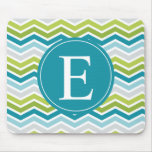 Chevron Monogram Green Blue Mouse Pads