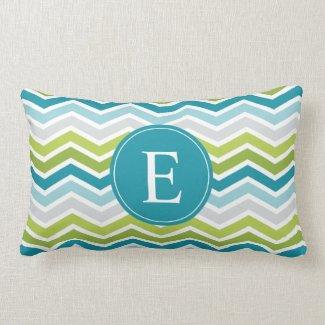 Chevron Monogram Green Blue Pillow