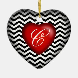 Chevron Monogram Heart   black white red Ceramic Ornament