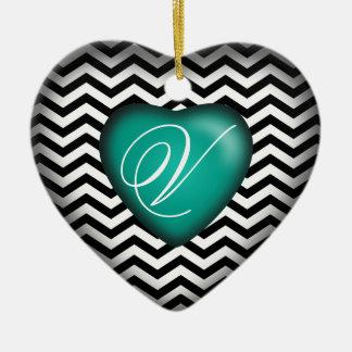 Chevron Monogram Heart   teal black white Ceramic Ornament