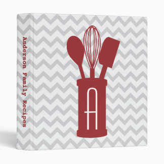 Chevron Monogram Kitchen Utensils Recipe Binder