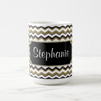 Chevron Monogram Mug Gold/Black/White