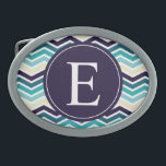 """Chevron Monogram Navy Blue Cream Belt Buckle<br><div class=""""desc"""">Customise this vibrant  arctic nautical inspired navy blue,  blue and cream zig zag chevron pattern  monogram design with the letter of your choice.</div>"""