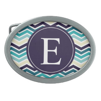 Chevron Monogram Navy Blue Cream Belt Buckle