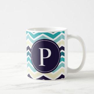 Chevron Monogram Navy Blue Cream Coffee Mug